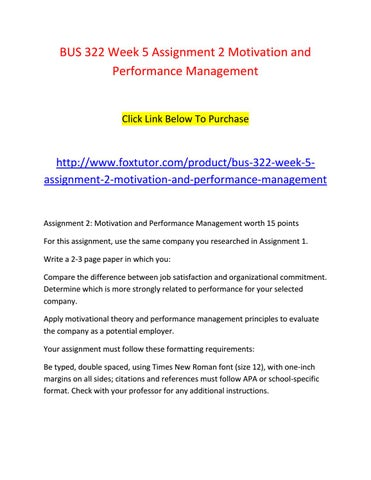 motivation and performance management theories