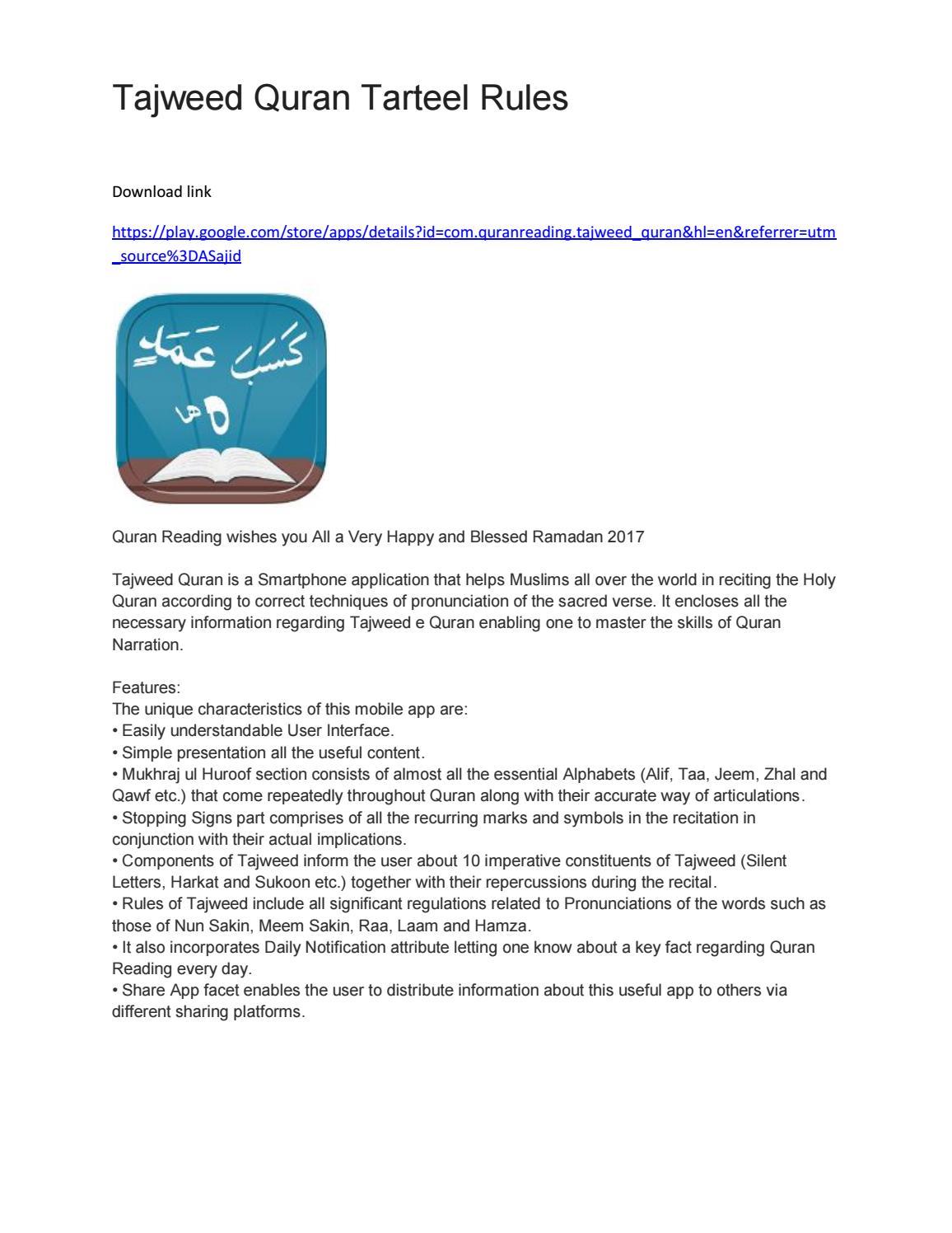 Tajweed quran tarteel rules by Android apps - issuu