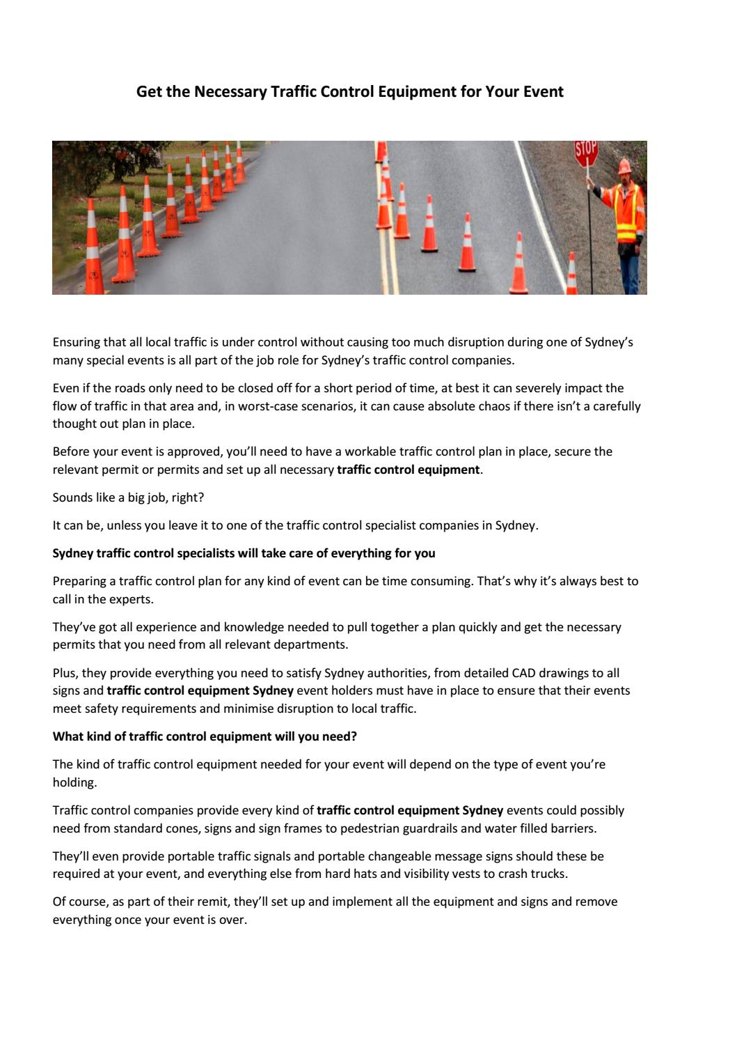 Get the Necessary Traffic Control Equipment for Your Event