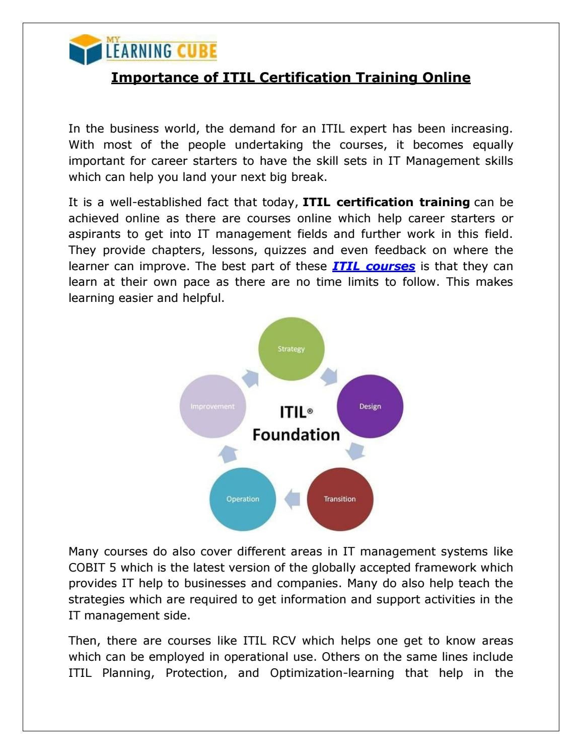 Itil Certification Training Online By Mylearningcube Issuu