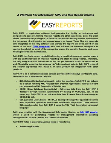 A platform for integrating tally and mis report making by Easy