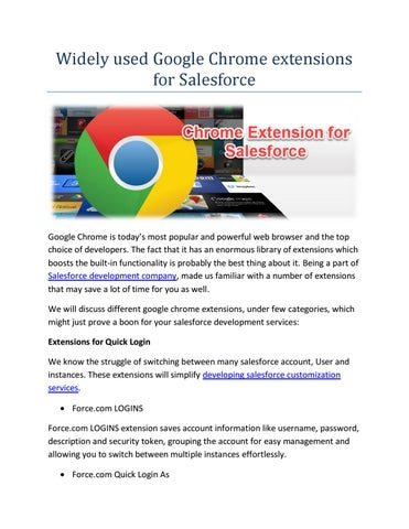 Google chrome extensions for salesforce by Viraj C - issuu