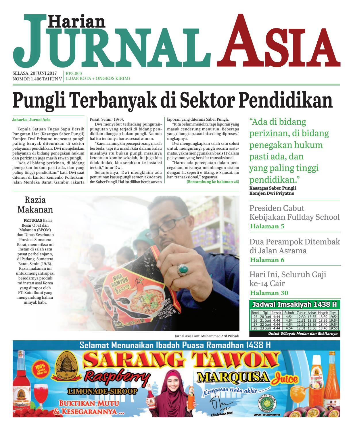 Harian Jurnal Asia Edisi Selasa 20 Juni 2017 By Produk Ukm Bumn Tas Ransel Threepoint Medan Issuu