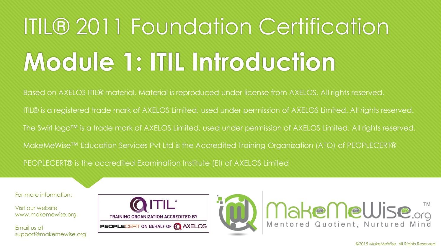 Itil Certification Course By Makemewise Issuu