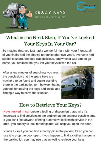 What Is The Next Step If You Ve Locked Your Keys In Your Car By