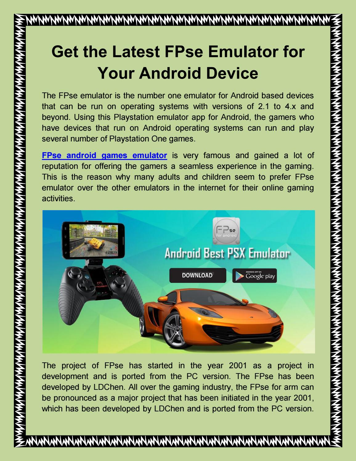 Get the latest fpse emulator for your android devices by FPSe - issuu
