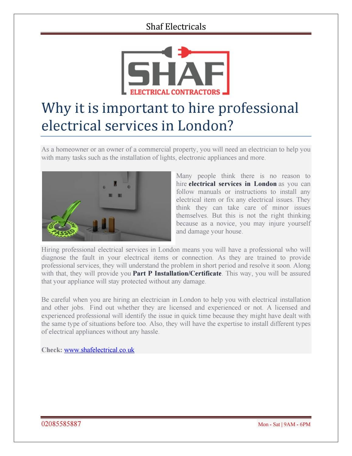 Part P Certificate >> Why It Is Important To Hire Professional Electrical Services