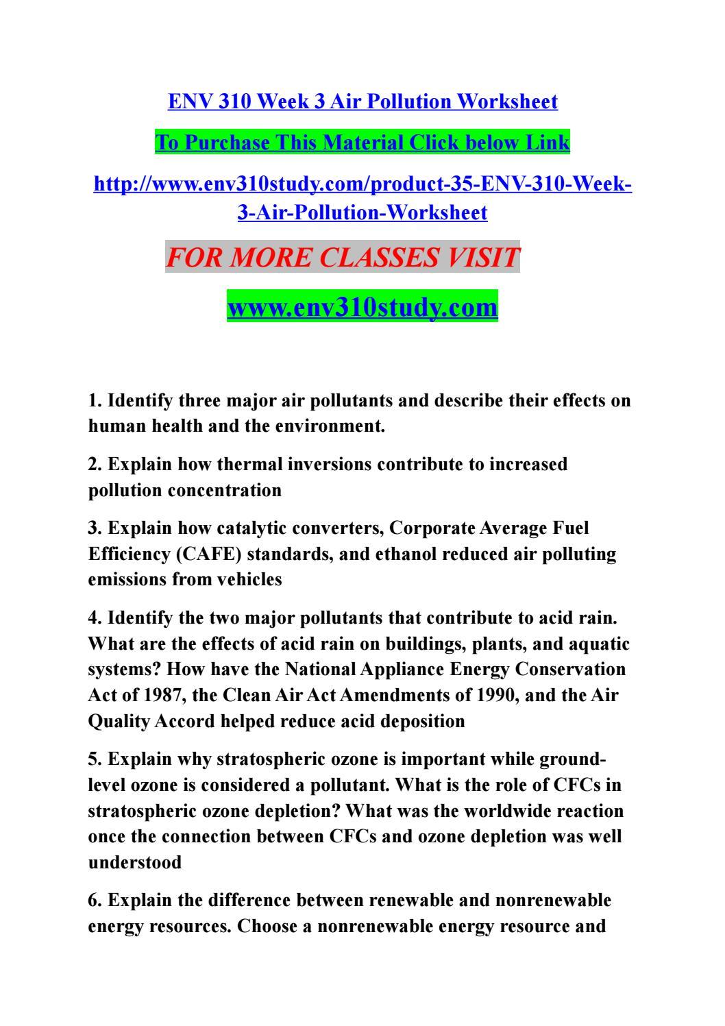 Worksheets Renewable And Nonrenewable Resources Worksheets env 310 week 3 air pollution worksheet by remo2b issuu