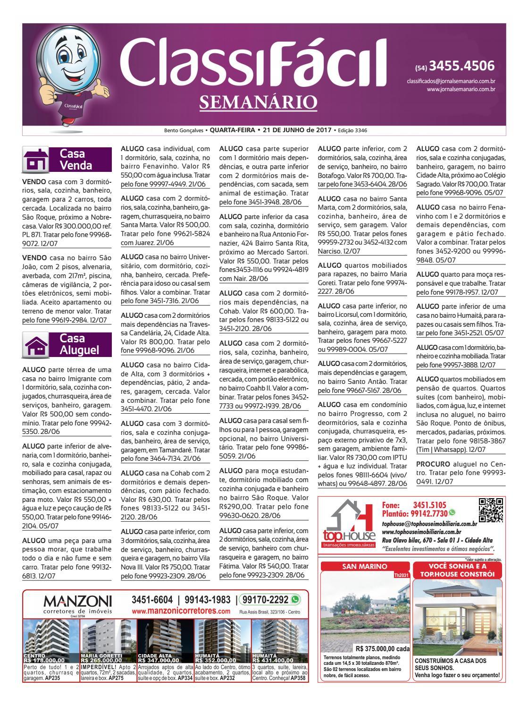 be0a6d0e27172 Classificados - 21 06 2017 - Edição 3346 by Jornal Semanário - Bento  Gonçalves - RS - issuu