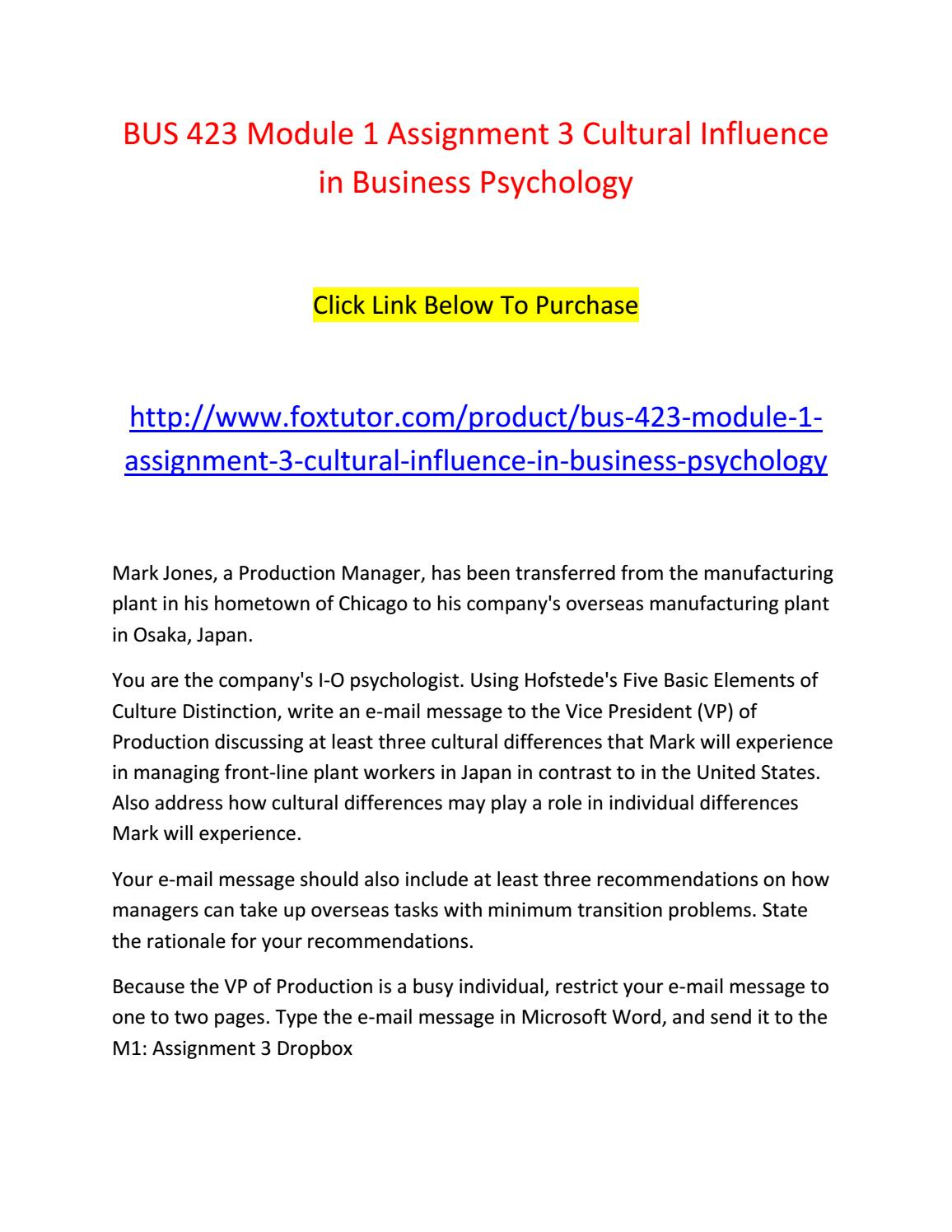 Bus Ignment 3 Cultural Influence In Business Psychology By Bus423ft Issuu