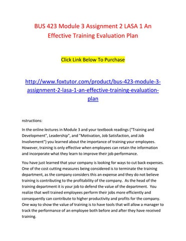 Bus  Module  Assignment  Lasa  An Effective Training