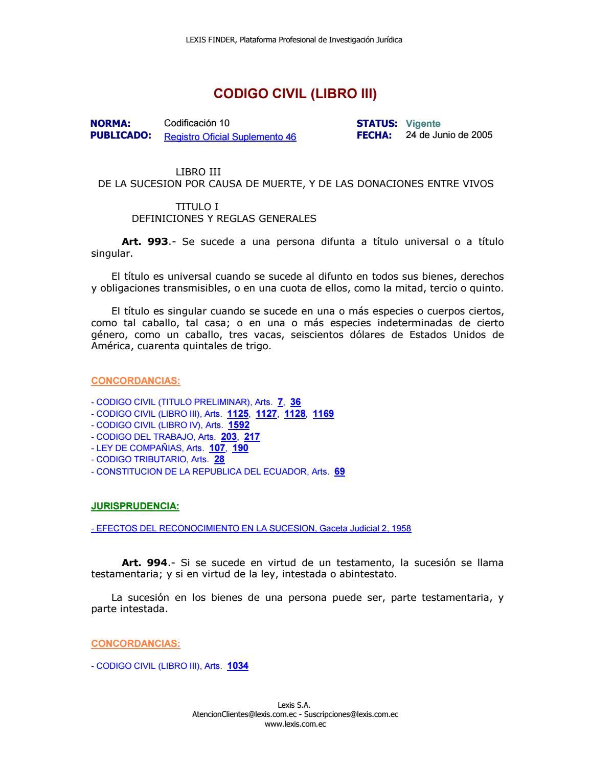 Codigo civil (libro iii) reformado el 22 may 2016 by Catherine ...