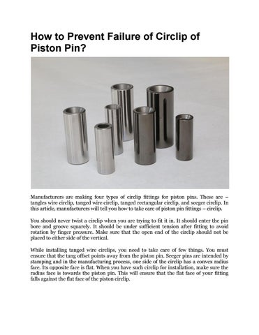 How to prevent failure of circlip of piston pin