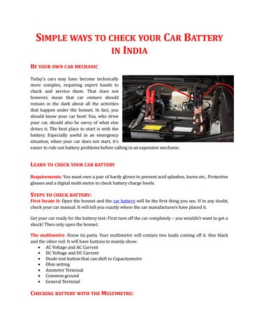 Simple Ways To Check Your Car Battery In India By