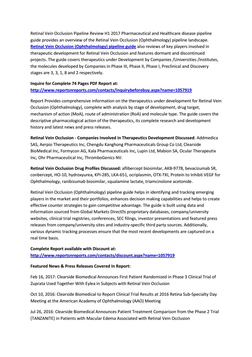Retinal Vein Occlusion Pipeline Product Development H1 2017