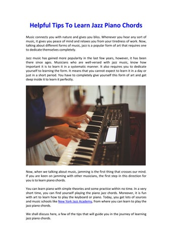 Tips Jazz Piano Chords Learn By New Jazz Academy Issuu