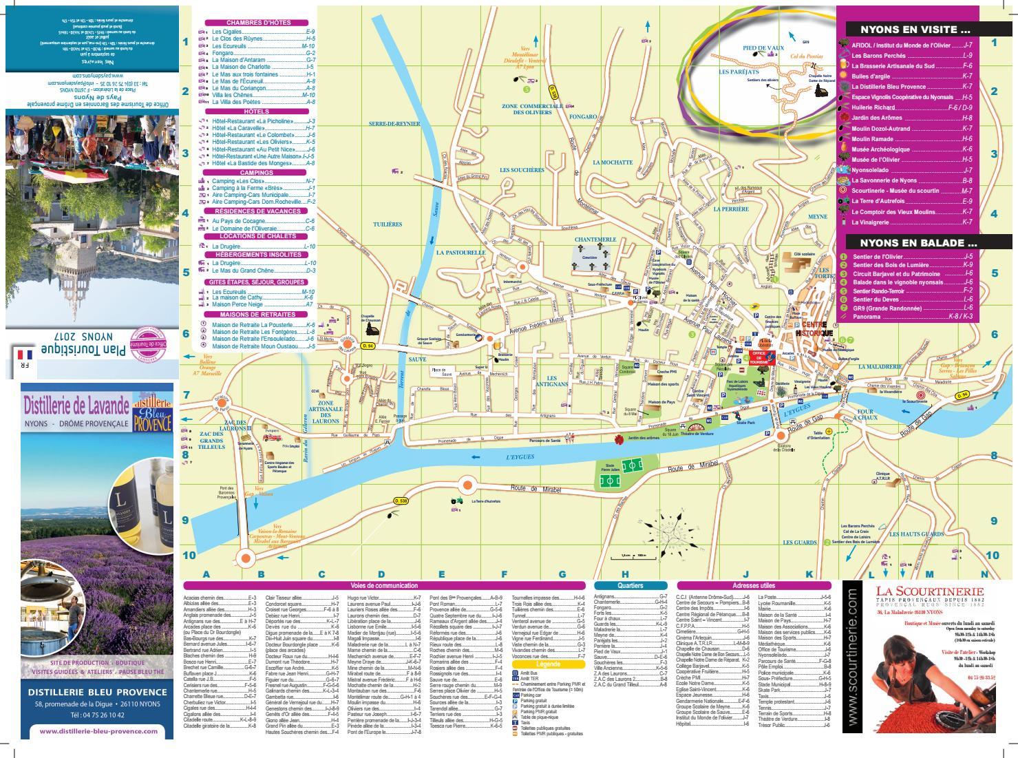 Plan De La Ville De Nyons 2017 By Baronnies Tourisme
