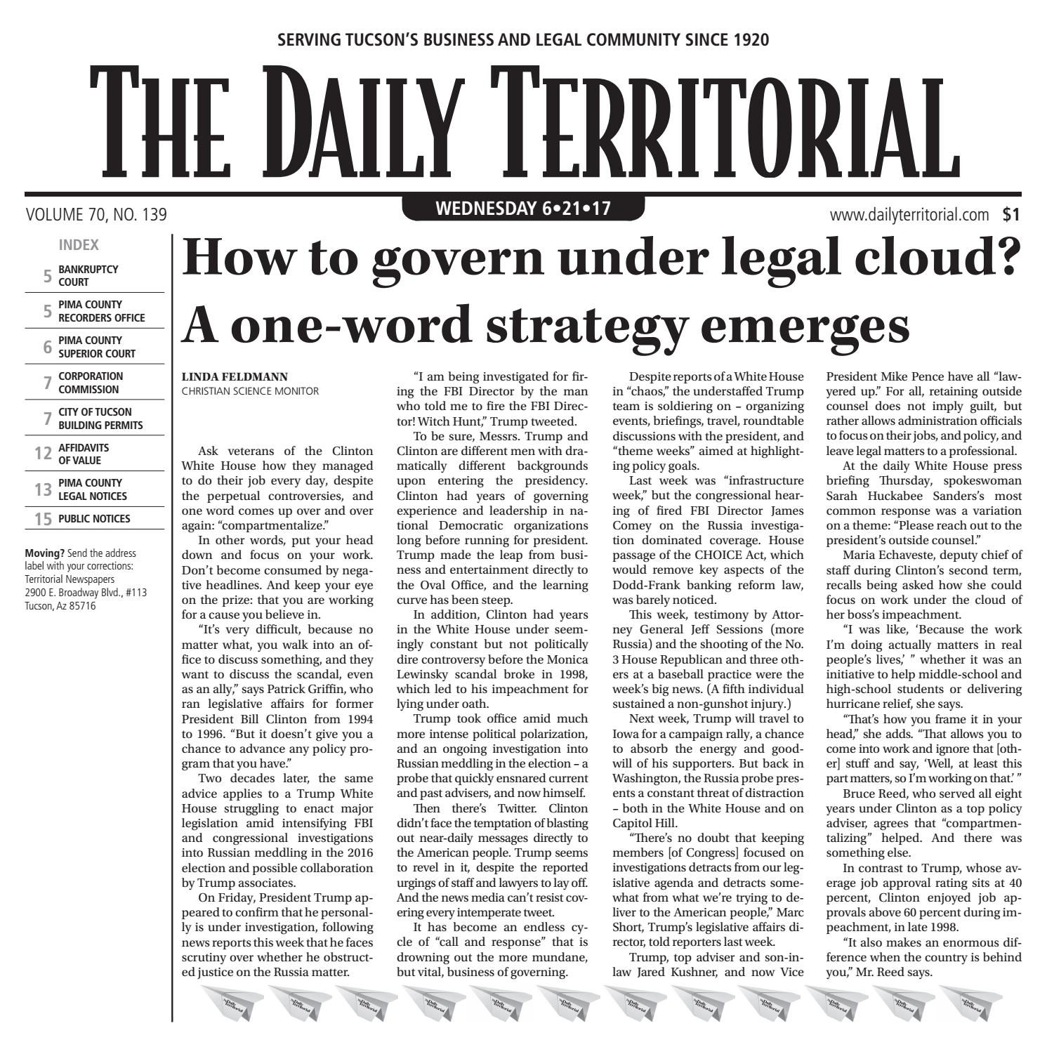 06 21 2017 The Daily Territorial By Wick Communications Issuu
