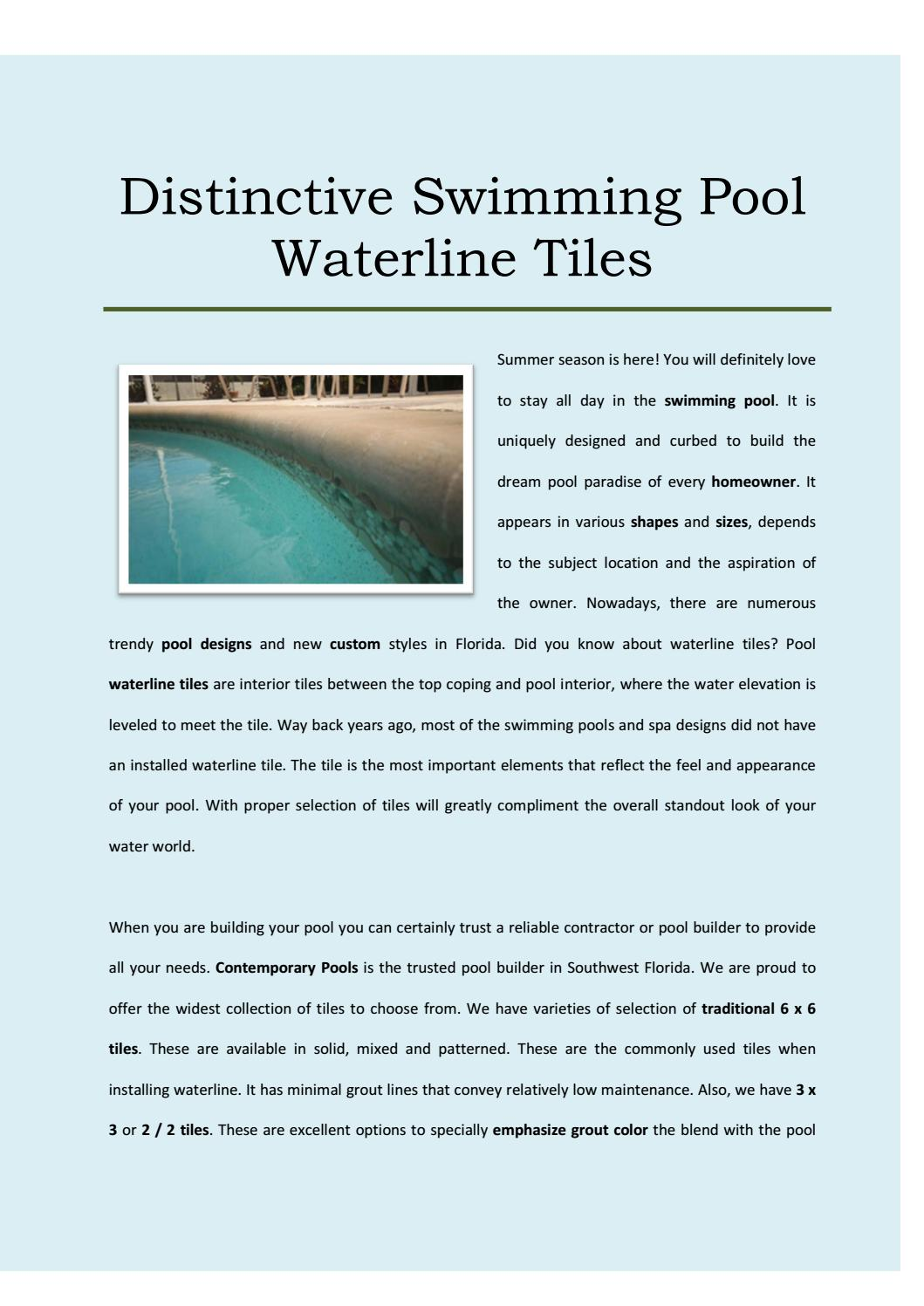 Distinctive swimming pool waterline tiles by Contemporary ...
