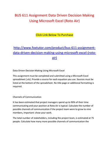 Bus 611 assignment data driven decision making using microsoft excel