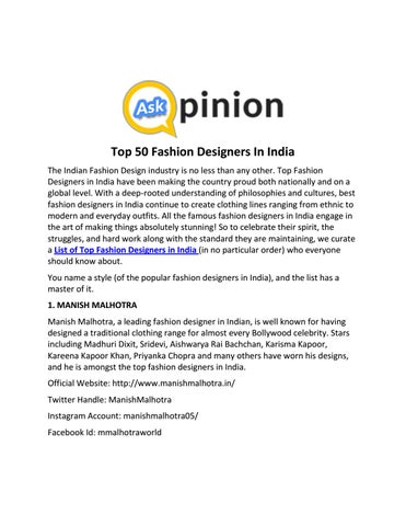 Top 50 Fashion Designers In India By Miasmith Issuu