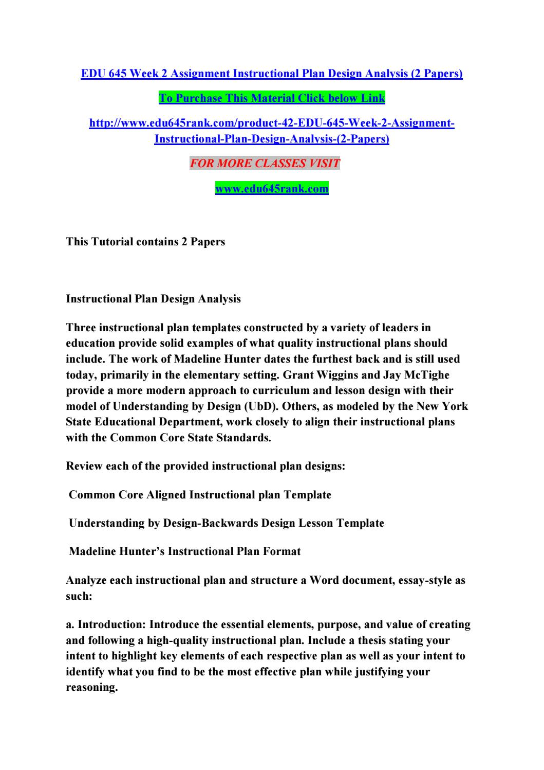 Edu 645 week 2 assignment instructional plan design analysis (2 ...