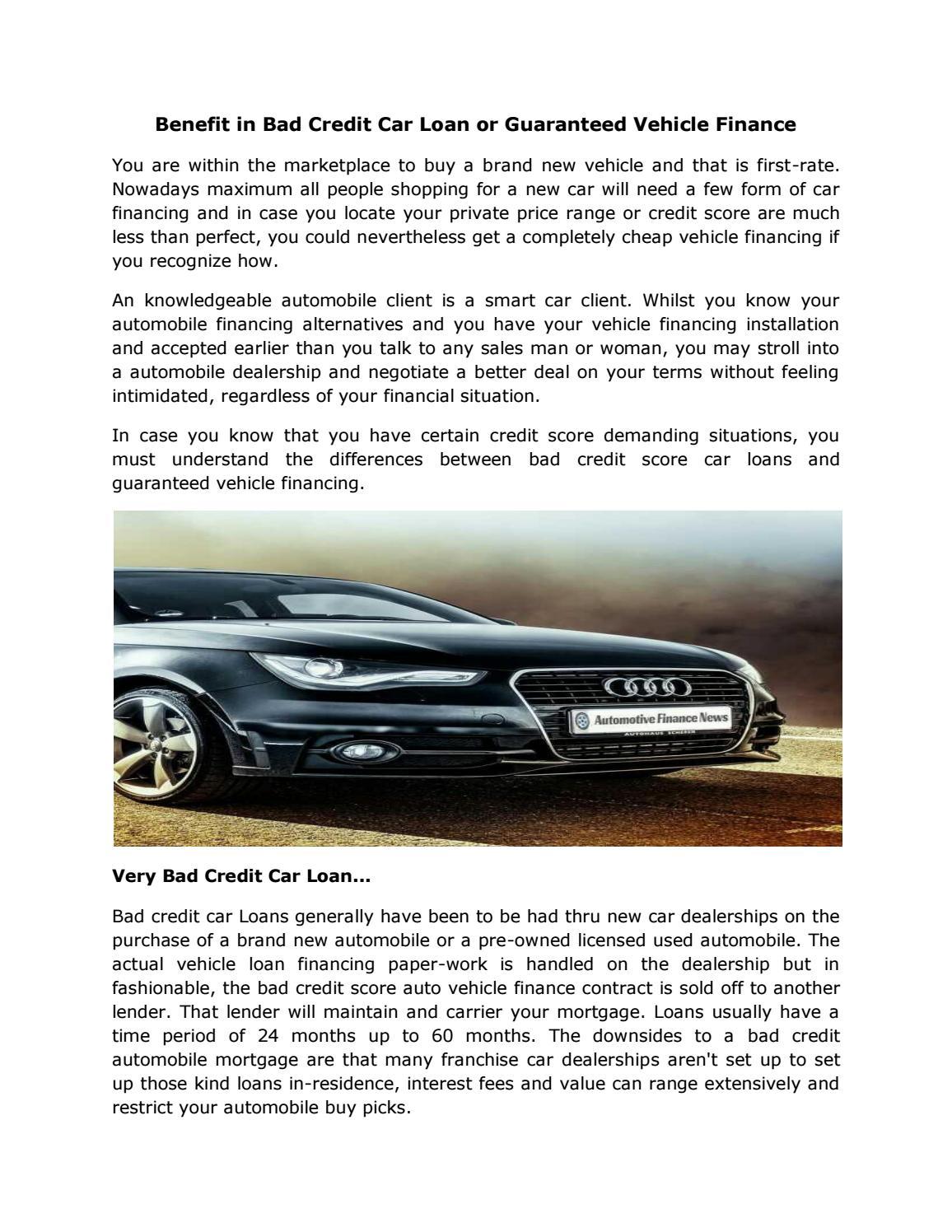 Guaranteed Auto Loan Dealerships >> Bad Credit Car Loan Or Guaranteed Vehicle Finance By Bc Auto