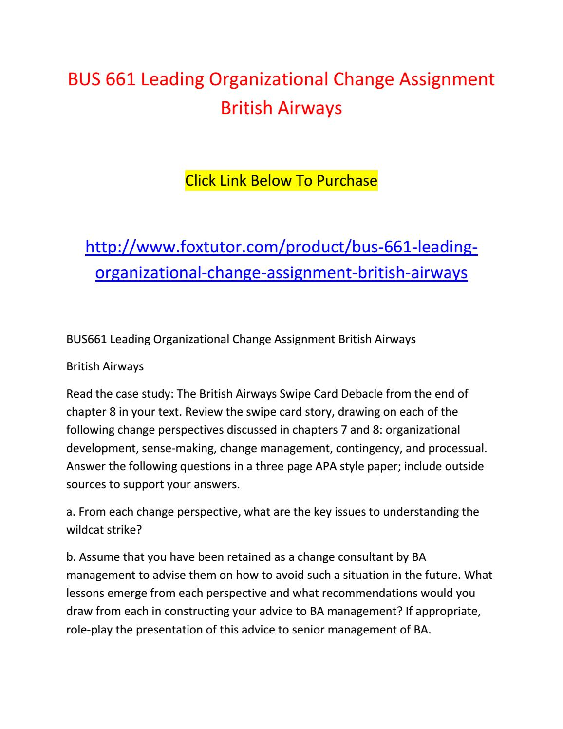 change management case study assignment