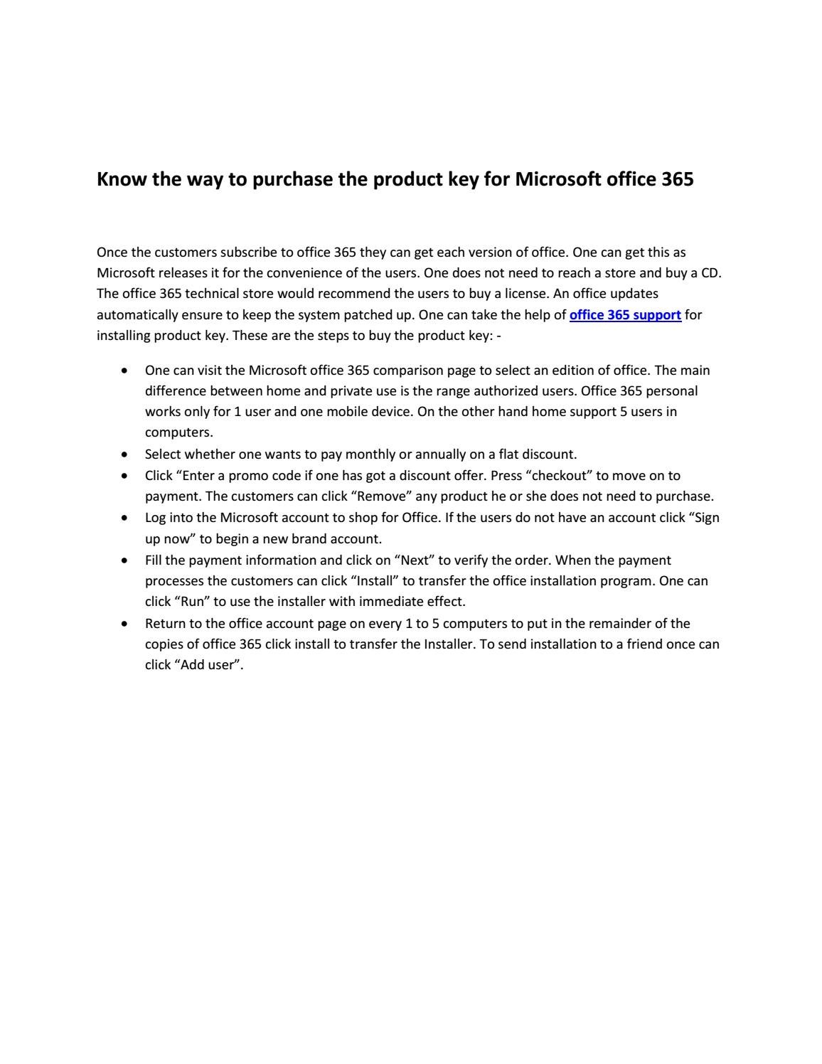 Know the way to purchase the product key for microsoft office 365 by ...