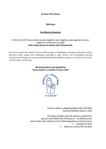 SEN Policy 2017-18 by Schudio - issuu
