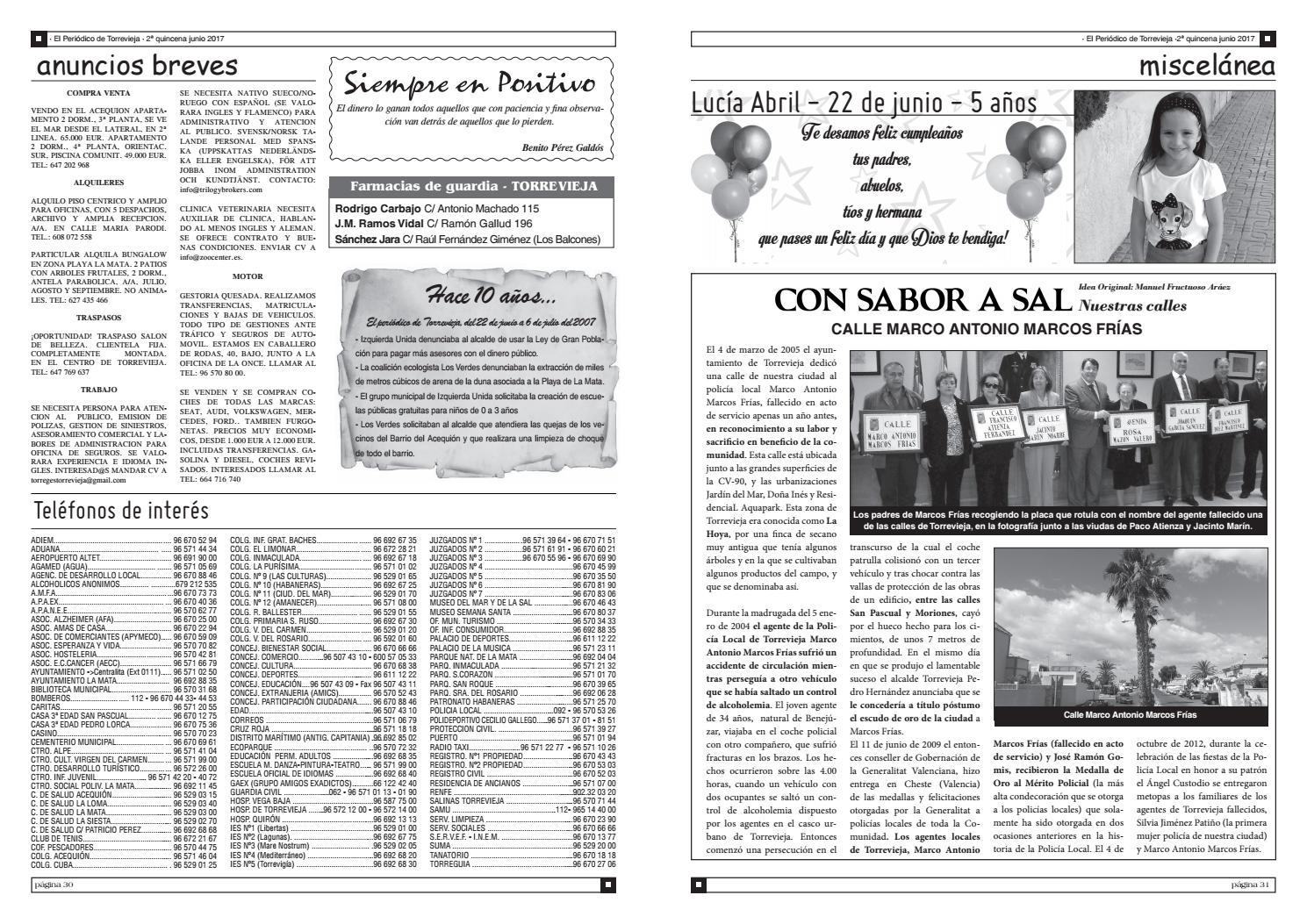 El peri dico de torrevieja n 598 by torregu a ediciones for Oficina de empleo torrevieja