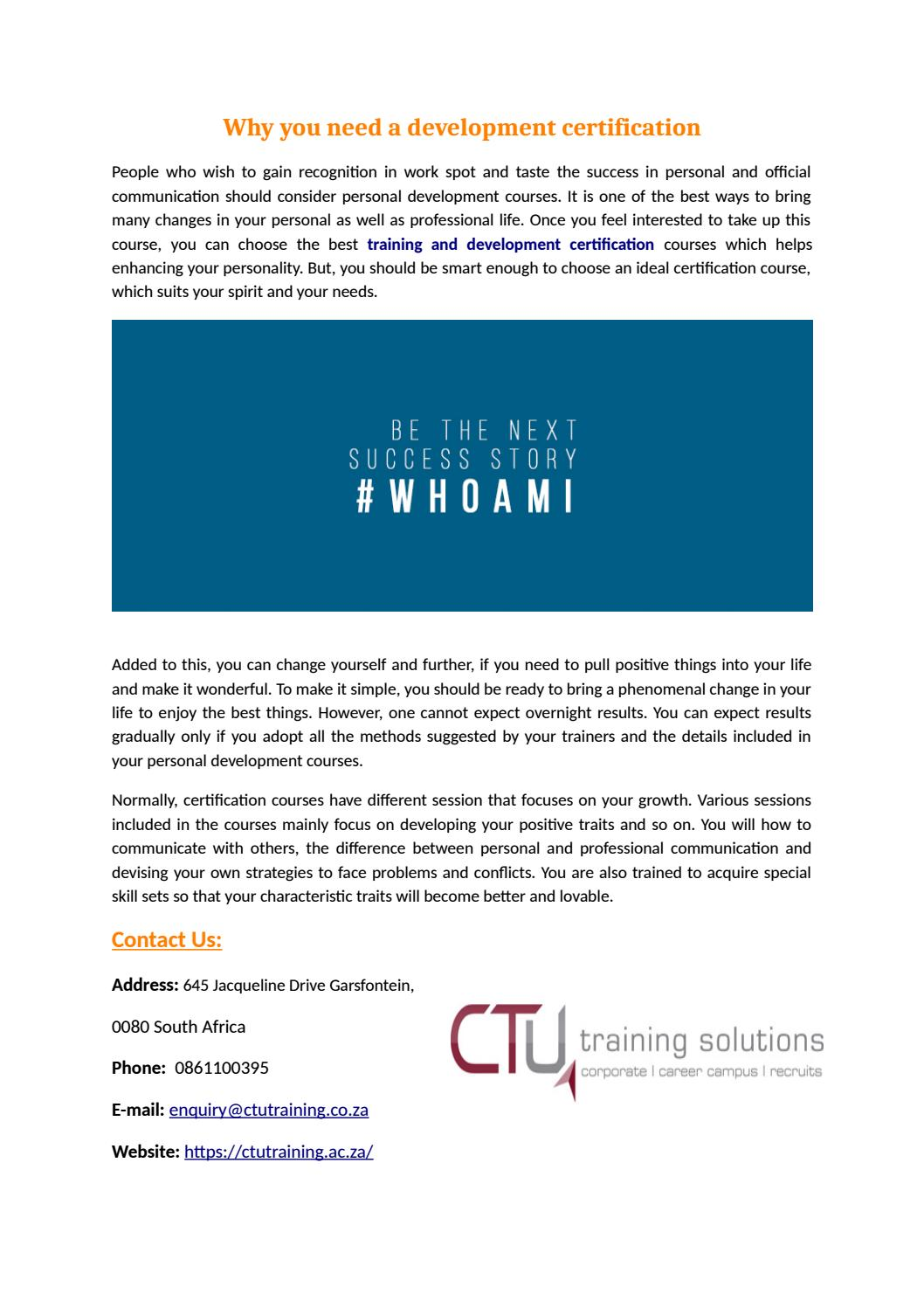 Training And Development Certification By Ctu Training Solutions Issuu
