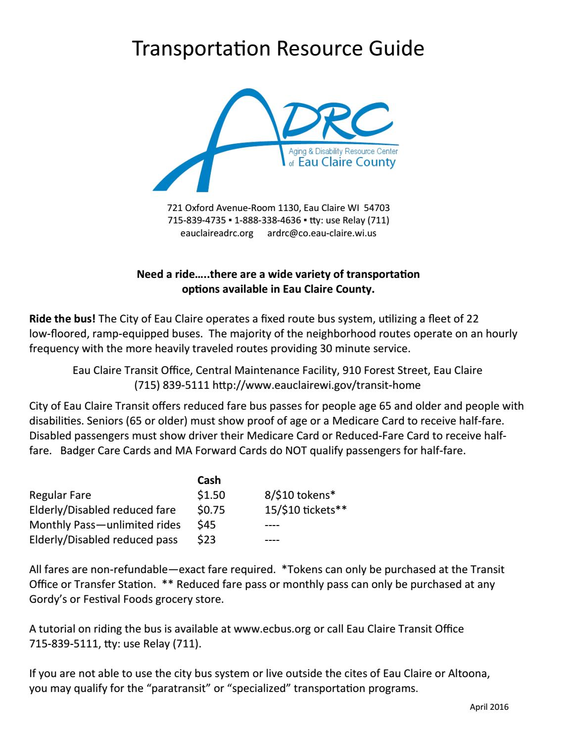 Transportation Resource Guide By Adrc Eau Claire County