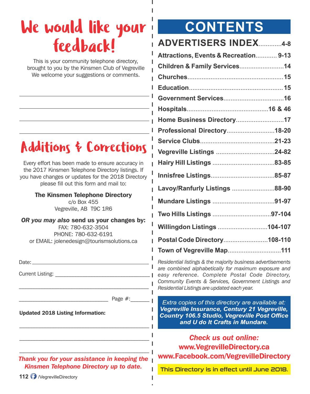 2017 Vegreville Kinsmen Telephone & Business Directory by