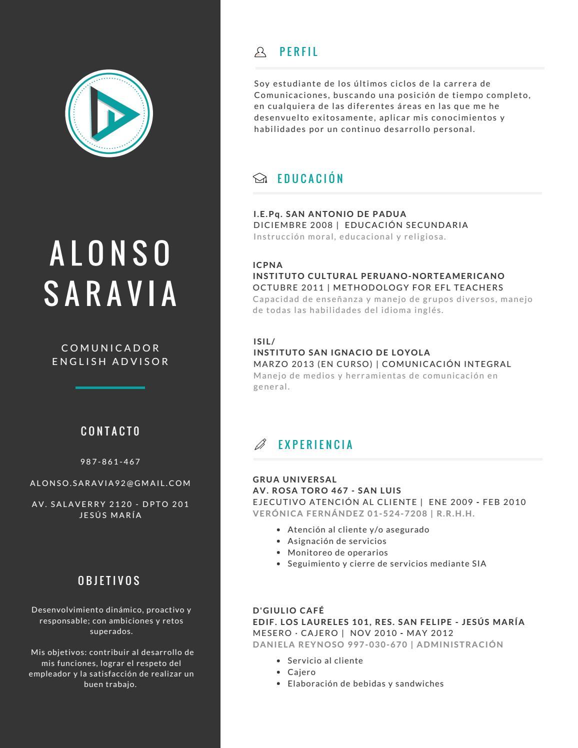Resume by Alonso Saravia - issuu