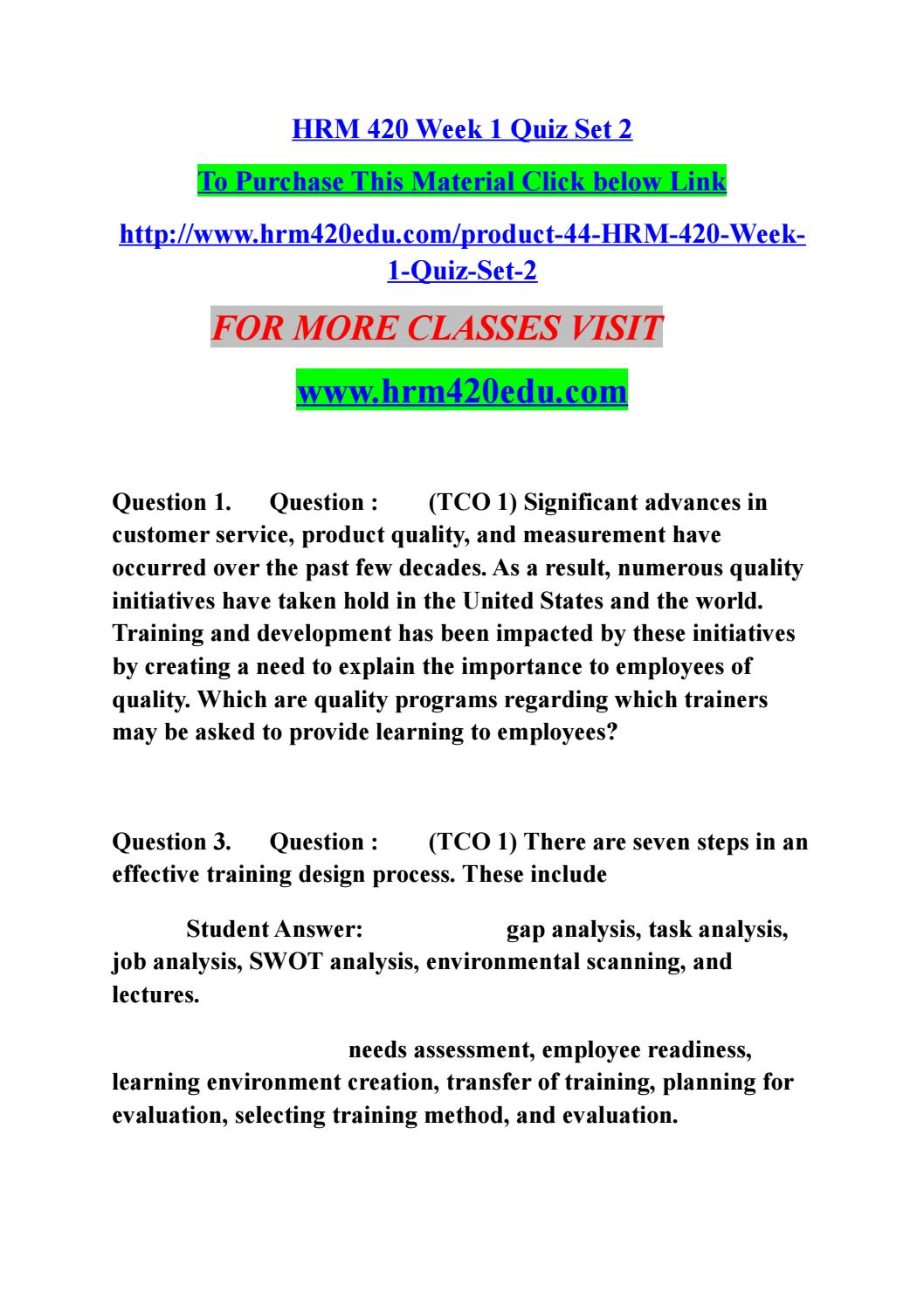 Hrm 420 week 1 quiz set 2 by fida2b - issuu