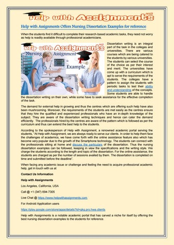 examples of nursing dissertations Get over 100 nursing dissertation help and writing we cover all latest interesting nursing dissertation with related free samples online in uk.