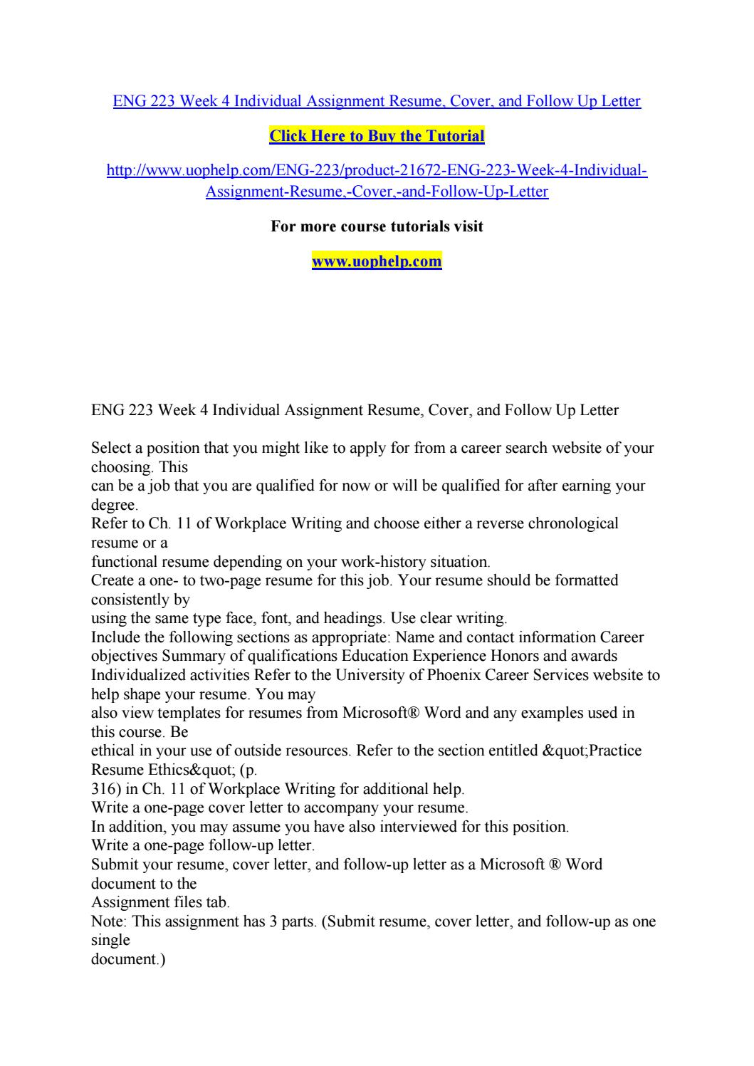 eng 223 week 4 individual assignment resume cover and follow up