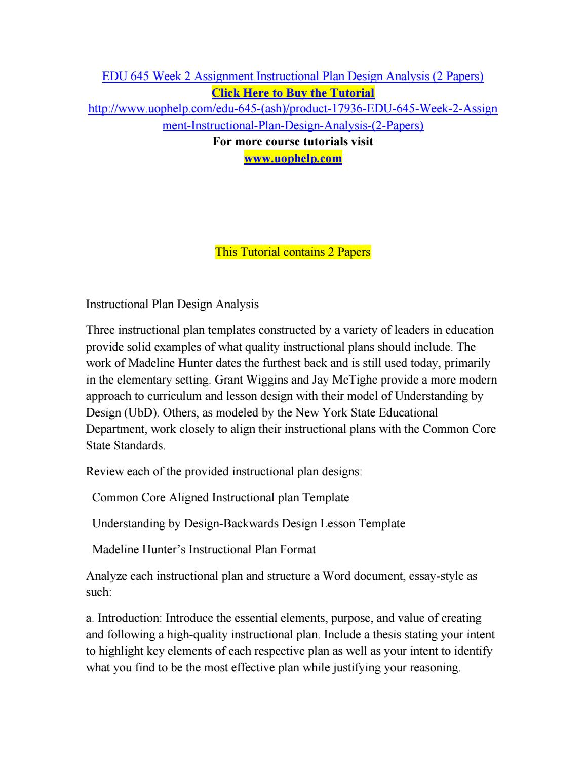 Edu 645 Week 2 Assignment Instructional Plan Design Analysis 2 Papers By Bluebell772 Issuu