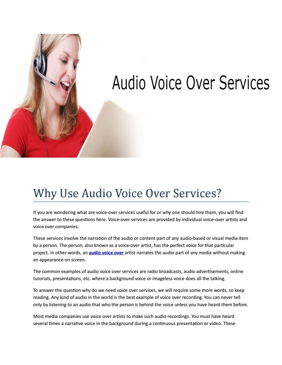 Audio voice over services by elisha - issuu