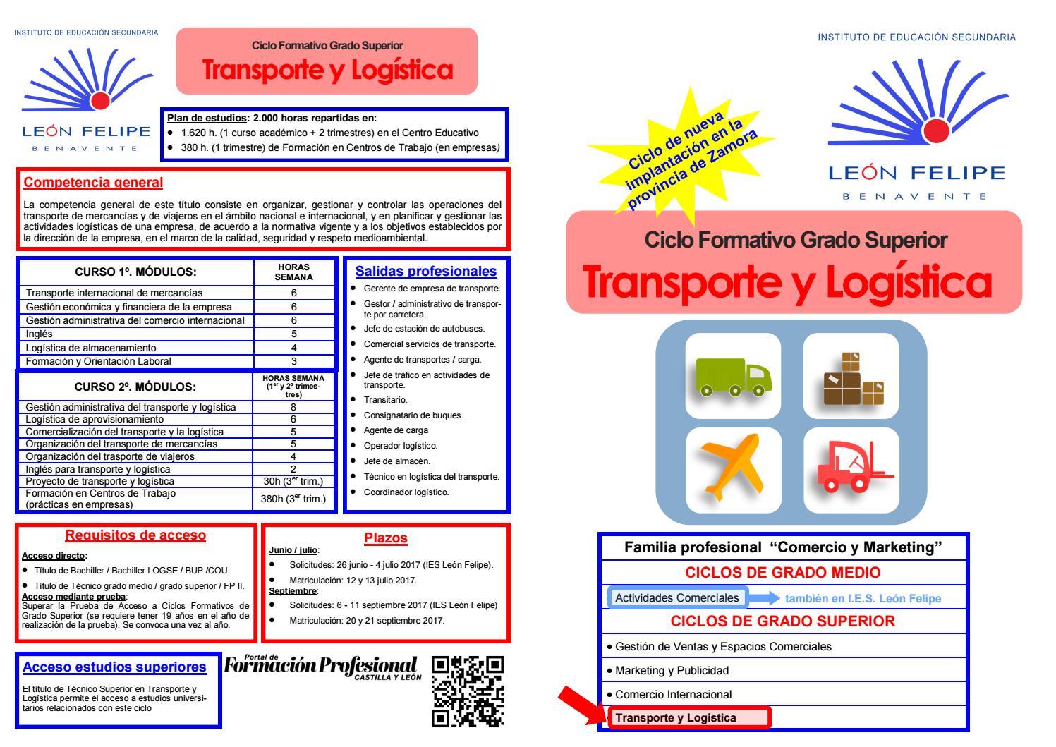 Nuevo Ciclo De Transporte Y Logística En El Ies León Felipe