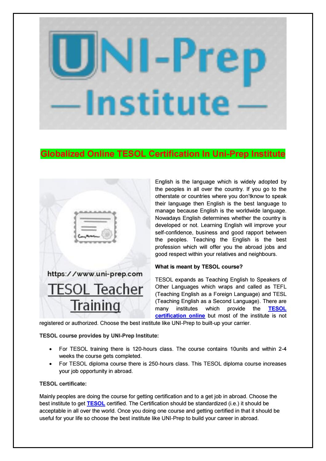 Globalized Online Tesol Certification In Uni Prep Institute By