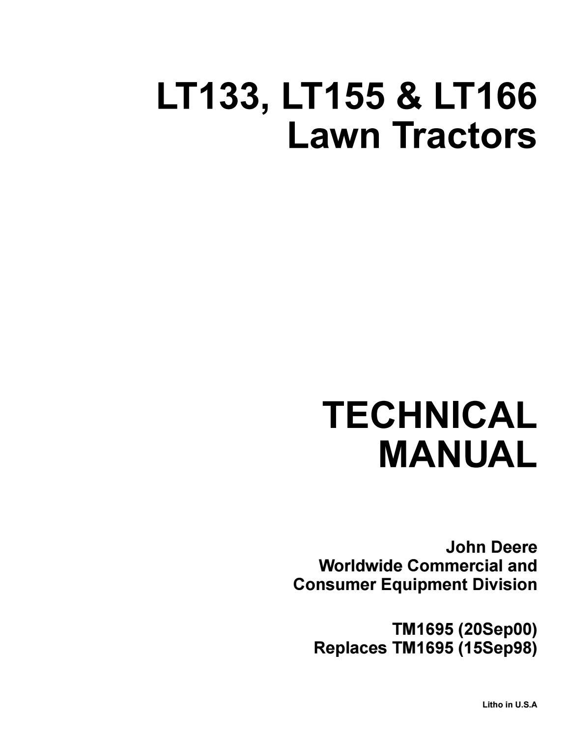 John Deere Lt155 Lawn Garden Tractor Service Repair Manual By 260 Alternator Wiring Diagram Ujfjisefjj Issuu