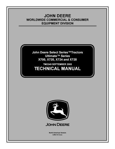 John deere x728 lawn & garden tractor service repair manual ... on