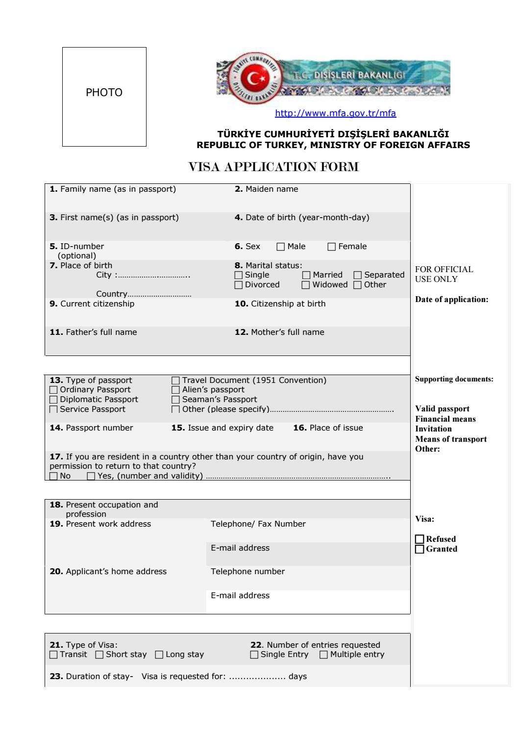 Turkey Sticker Visa Application Form By Turkey Residence Permit Issuu