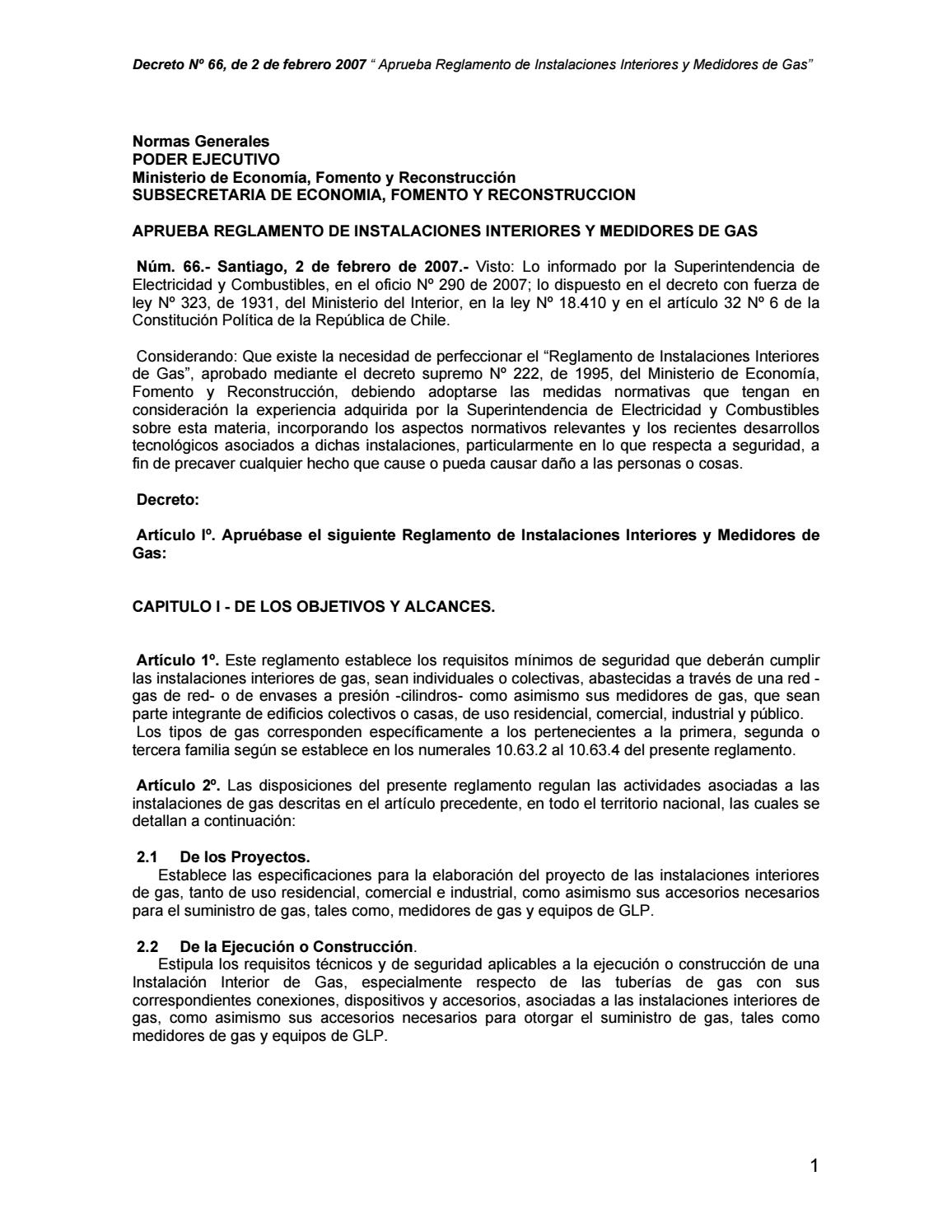 Ds 66 aprueba reglamento de instalaciones interiores y medidores de ...