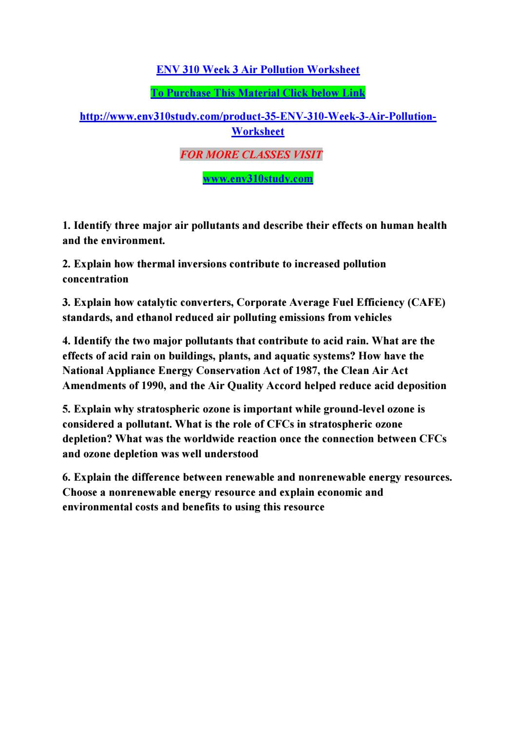 worksheet Air Pollution Worksheet env 310 week 3 air pollution worksheet by manuu78 issuu