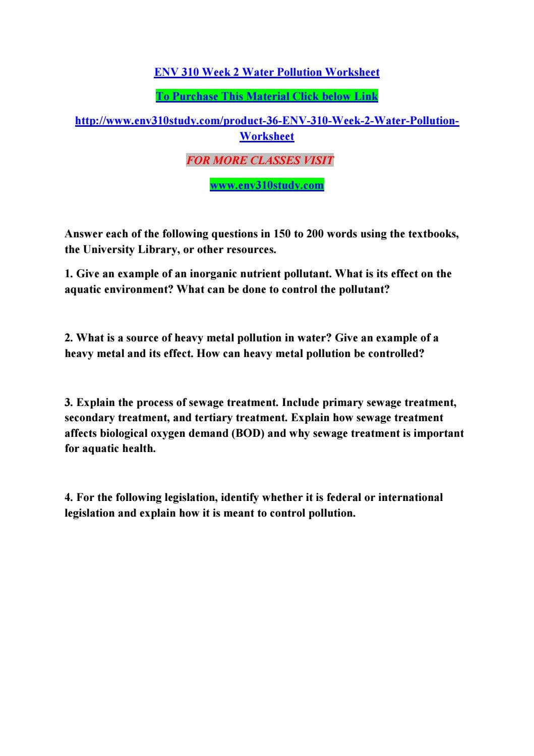 Worksheets Water Pollution Worksheet env 310 week 2 water pollution worksheet by manuu78 issuu