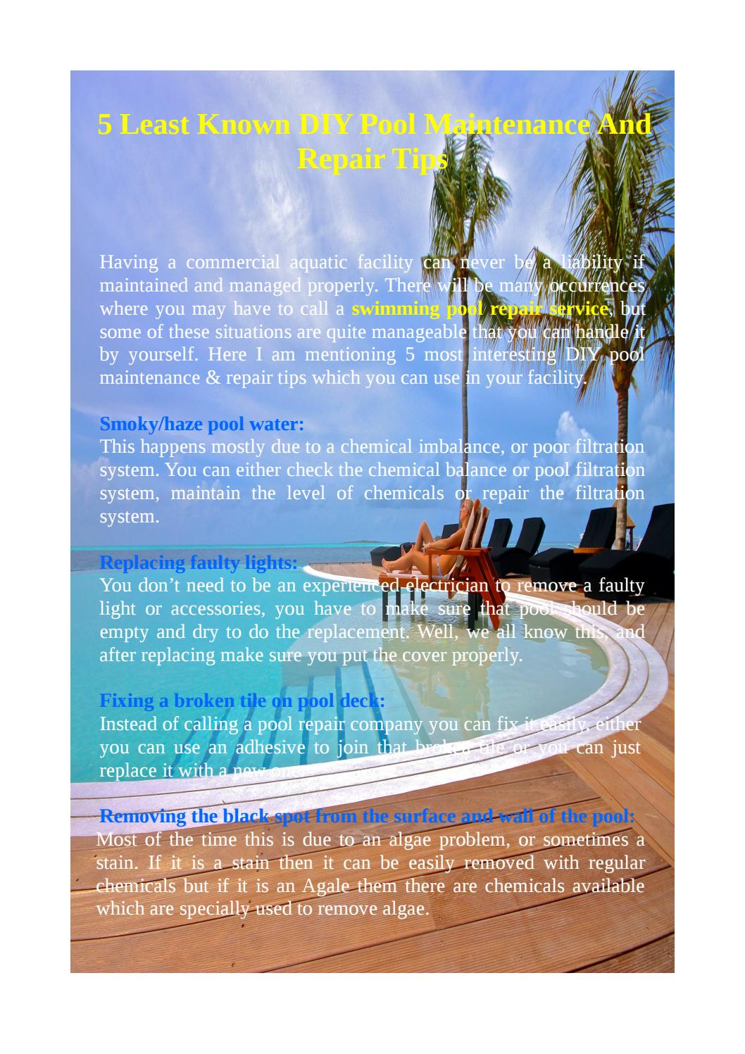 5 least known diy pool maintenance and repair tips by for Pool maintenance guide