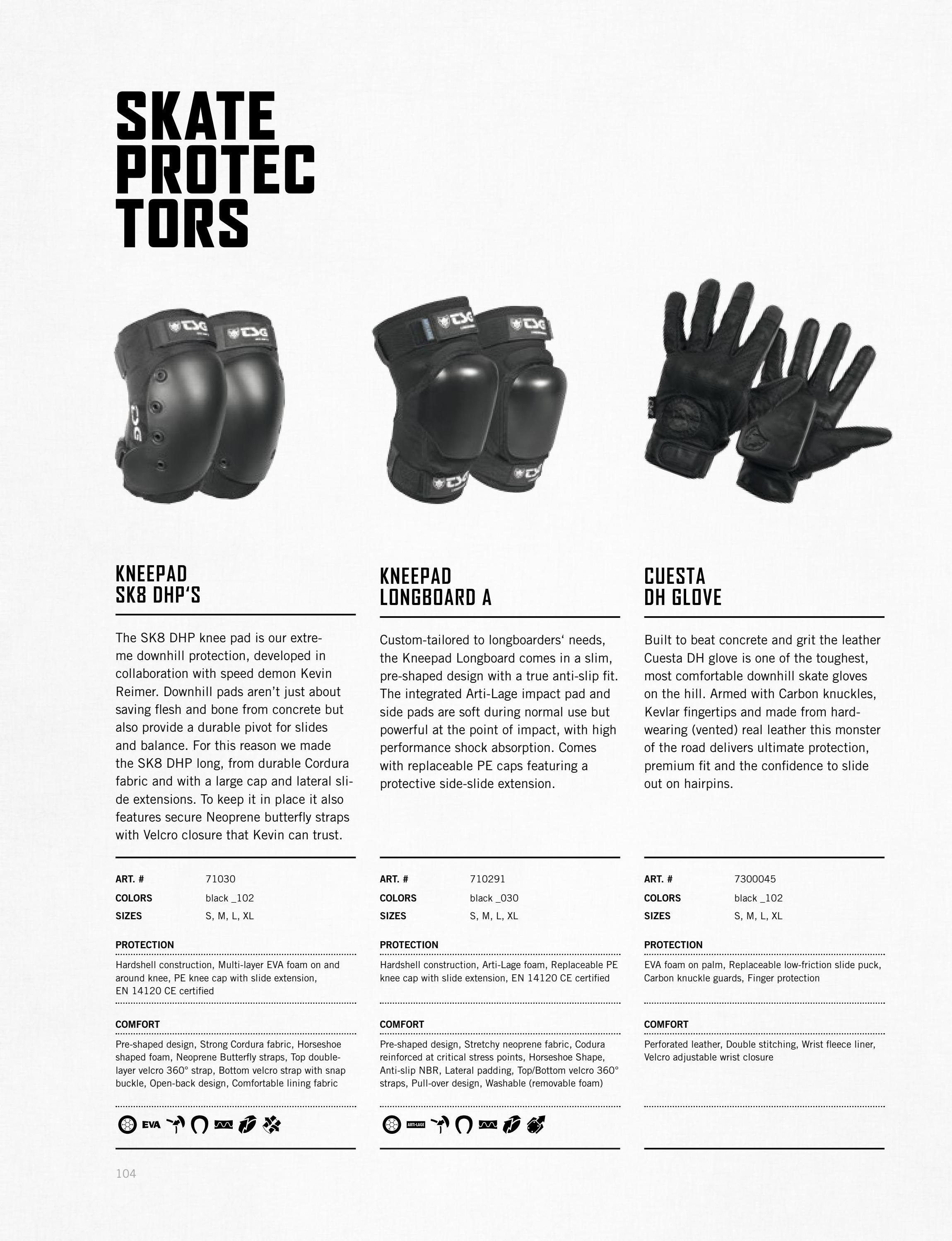 XL TSG DHP Knee Pads Protective Gear for Skateboard Black